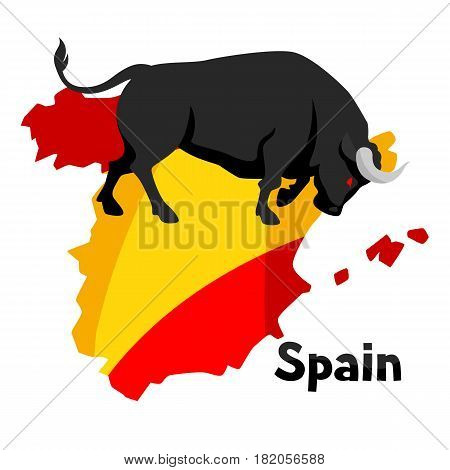 Traditional spanish corrida. Bull on background flag and map of Spain.