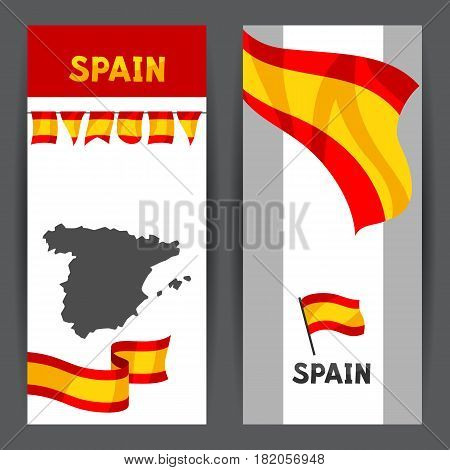 Banners with flag and map of Spain. Spanish traditional symbols and objects.