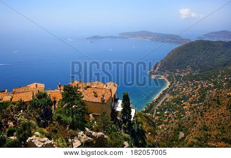 Beautiful view of the city of Eze in summer, Cote d'Azur, France