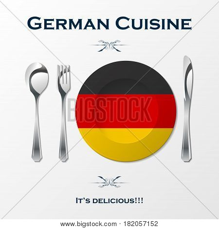 Silhouette of knife, fork, spoon and plate with German flag