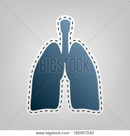 Human anatomy. Lungs sign. Vector. Blue icon with outline for cutting out at gray background.