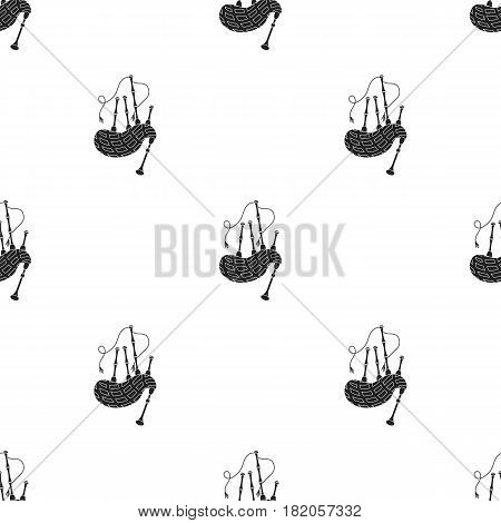 Bagpipes icon in black style isolated on white background. Musical instruments pattern vector illustration