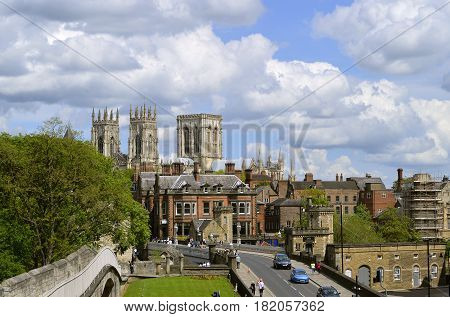 York Yorkshire England UK - May 22 2016 : Histirical York city centre viewed from York City Wall