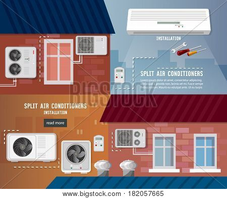 Air conditioner installment and air conditioning repair. Split system check ventilation systems. Installation of air conditioners service banner
