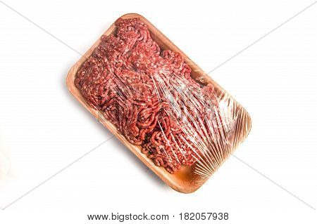 Beef mince, pork mince pictures, white background, pakette mince with gray background,