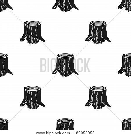 Tree stump icon in black style isolated on white background. Sawmill and timber pattern stock vector illustration.