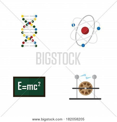 Flat Science Set Of Orbit, Theory Of Relativity, Electrical Engine And Other Vector Objects. Also Includes Relativity, Helix, Genome Elements.