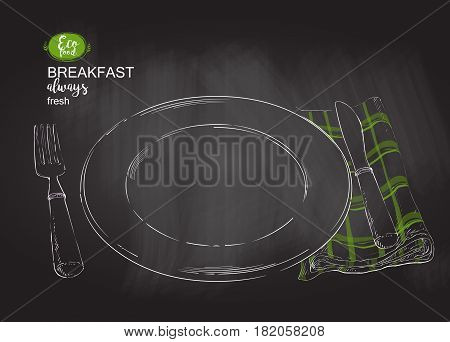 Green Empty plate on Vintage cloth napkin on white background. Empty plate with ivory-colored design with knife and fork. top view. vector chalk drawing on the blackboard illustration