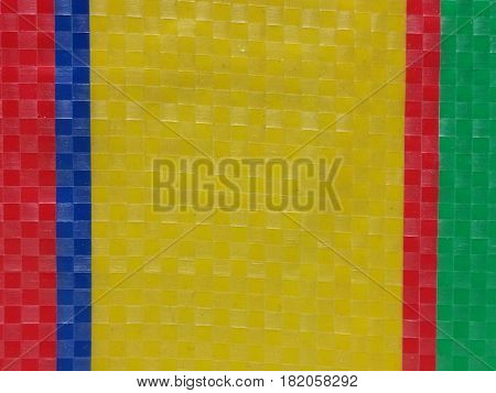 Sack color stripe background surface summer color layer color chessboard grid red yellow navy blue and green majority yellow in middle