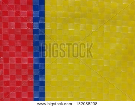 Sack color stripe background surface summer color layer color chessboard grid red yellow navy blue majority yellow at left side