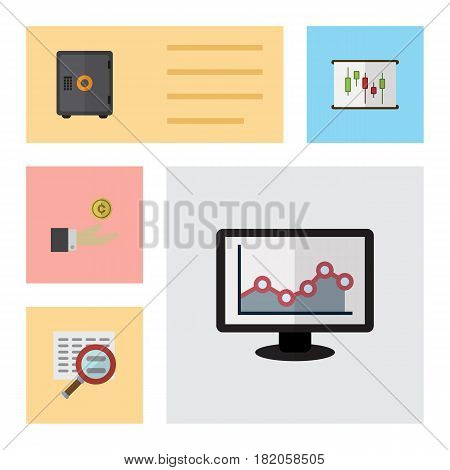 Flat Exchequer Set Of Strongbox, Diagram, Hand With Coin Vector Objects. Also Includes Report, Magnifier, Strongbox Elements.
