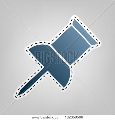 Pin push sign. Vector. Blue icon with outline for cutting out at gray background.