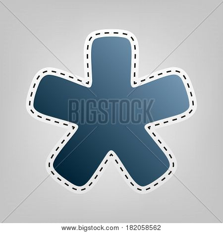 Asterisk star sign. Vector. Blue icon with outline for cutting out at gray background.