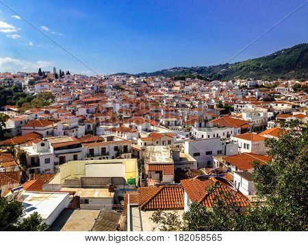 view over the rooftops of skiathos old town