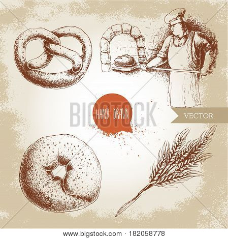 Hand drawn set bakery illustrations. Baker making fresh bread in stone oven sesame bagel german pretzel and wheat bunch. Bakery and mill vector illustration.