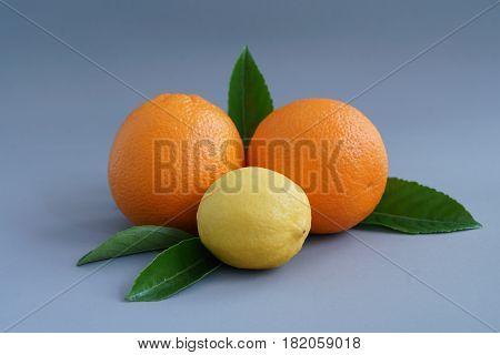 Organic orange and lemon on the gray background - Isolated