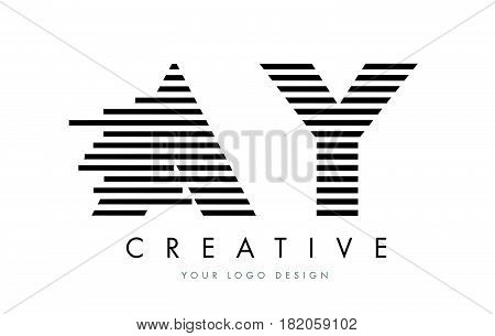 Ay A Y Zebra Letter Logo Design With Black And White Stripes