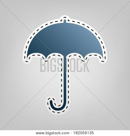 Umbrella sign icon. Rain protection symbol. Flat design style. Vector. Blue icon with outline for cutting out at gray background.
