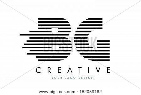 Bg B G Zebra Letter Logo Design With Black And White Stripes