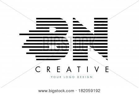 Bn B N Zebra Letter Logo Design With Black And White Stripes