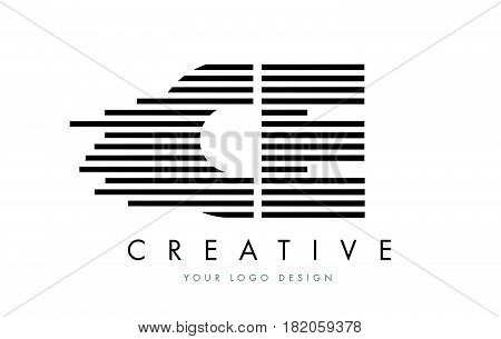 Ce C E Zebra Letter Logo Design With Black And White Stripes