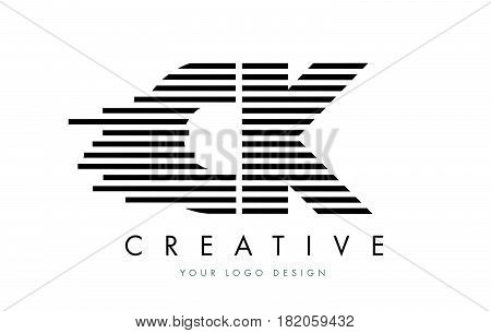 Ck C K Zebra Letter Logo Design With Black And White Stripes