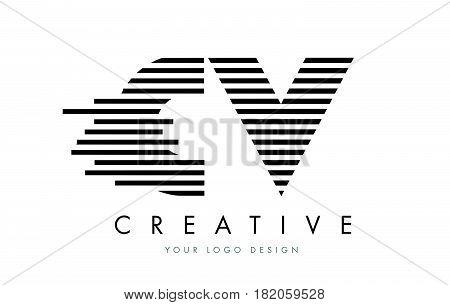 Cv C V Zebra Letter Logo Design With Black And White Stripes