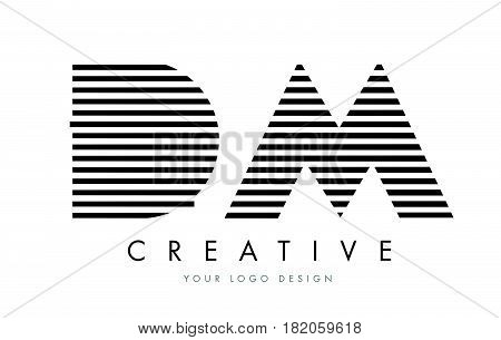 Dm D M Zebra Letter Logo Design With Black And White Stripes