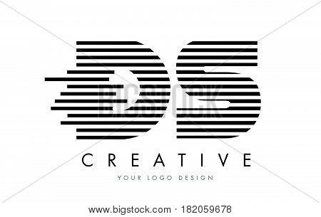 Ds D S Zebra Letter Logo Design With Black And White Stripes