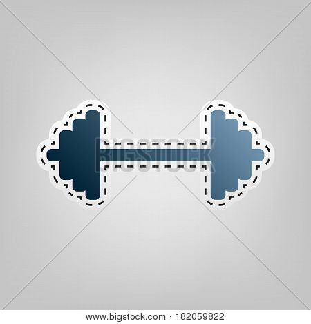 Dumbbell weights sign. Vector. Blue icon with outline for cutting out at gray background.