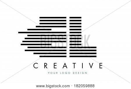 El E L Zebra Letter Logo Design With Black And White Stripes