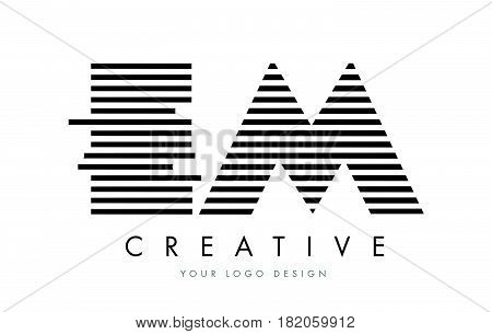 Em E M Zebra Letter Logo Design With Black And White Stripes