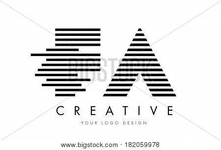Fa F A Zebra Letter Logo Design With Black And White Stripes