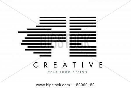 Fe F E Zebra Letter Logo Design With Black And White Stripes