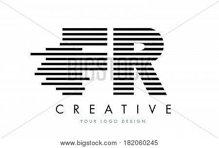 Fr F R Zebra Letter Logo Design With Black And White Stripes