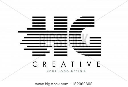 Hg H G Zebra Letter Logo Design With Black And White Stripes