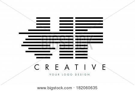 Hf H F Zebra Letter Logo Design With Black And White Stripes