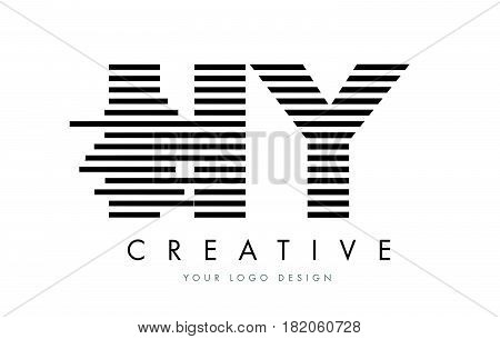 Hy H Y Zebra Letter Logo Design With Black And White Stripes