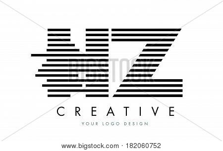 Hz H Z Zebra Letter Logo Design With Black And White Stripes