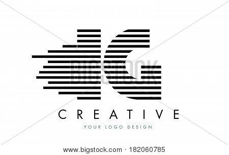 Ig I Q Zebra Letter Logo Design With Black And White Stripes