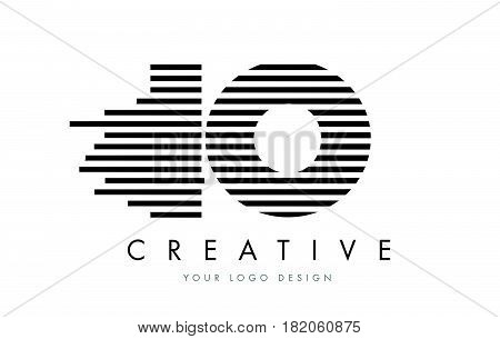 Io I O Zebra Letter Logo Design With Black And White Stripes