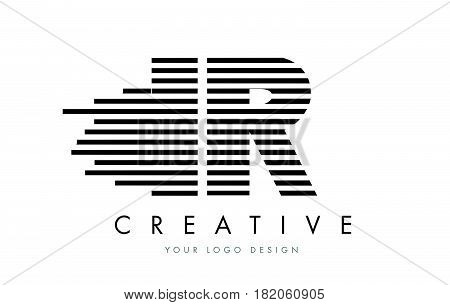 Ir I R Zebra Letter Logo Design With Black And White Stripes
