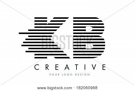 Kb K B Zebra Letter Logo Design With Black And White Stripes