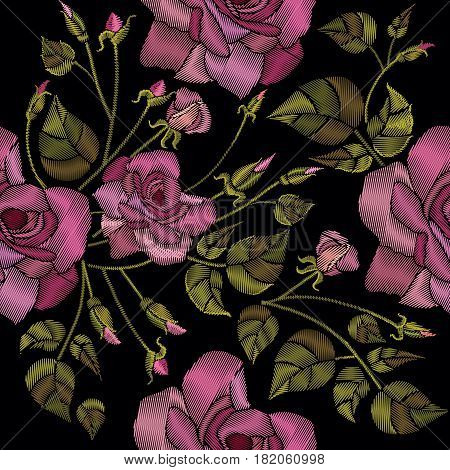 Classic style embroidery beautiful roses flowers hand drawn pattern vector. Roses embroidery seamless pattern on a black background