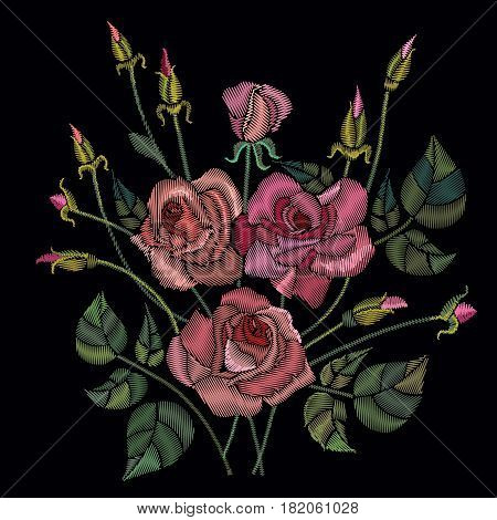 Classic style embroidery beautiful roses flowers pattern vector. Roses embroidery on a black background