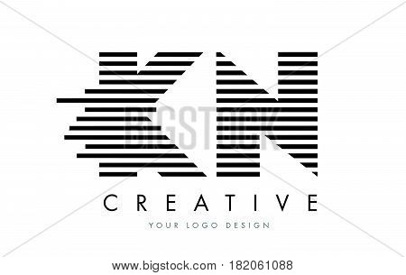 Kn K N Zebra Letter Logo Design With Black And White Stripes