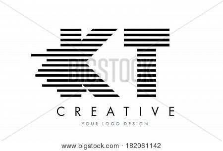 Kt K T Zebra Letter Logo Design With Black And White Stripes