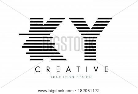 Ky K Y Zebra Letter Logo Design With Black And White Stripes