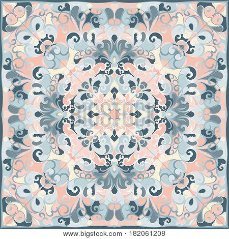 Squared Ornamental Damask Pattern.