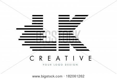 Lk L K Zebra Letter Logo Design With Black And White Stripes